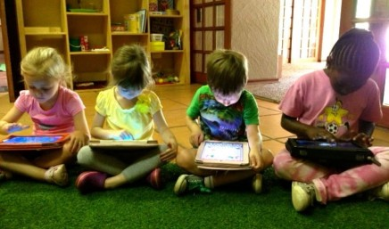 Children working on ipads