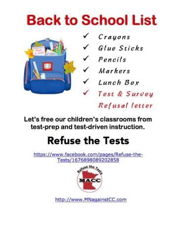 Student backpack test refusal